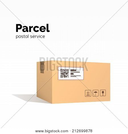 Transportation parcel. carton box container. QR code closed parcel box package paper box. package service flat vector illustration isolated on white