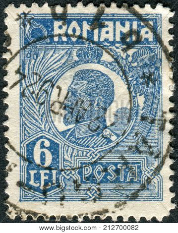ROMANIA - CIRCA 1923: Postage stamp printed in Romania shows Ferdinand I of Romania circa 1923