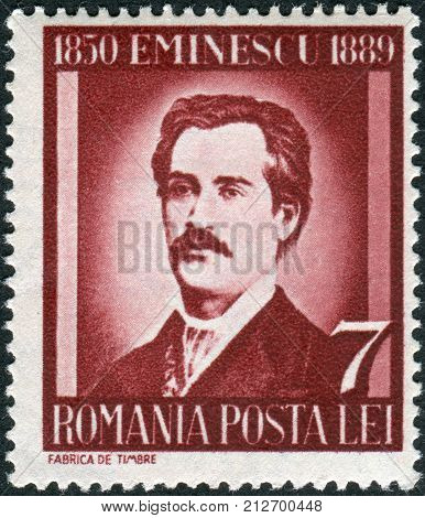 ROMANIA - CIRCA 1939: Postage stamp printed in Romania dedicated to the 50th anniversary of the death of Mihail Eminescu circa 1939