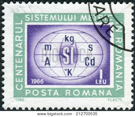 ROMANIA - CIRCA 1966: Postage stamp printed in Romania dedicated to the centenary of the metric system in Romania is shown Metric system symbols circa 1966