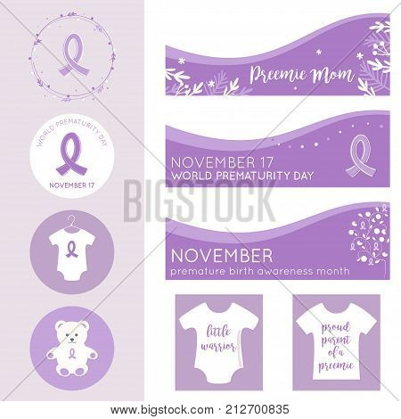 World Prematurity Day Banners, Posters and Badges Vector Templates.