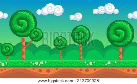 Pixel art seamless background. Location with stylized forest. Landscape for game or application.