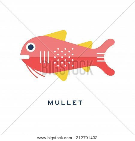 Mullet, sea fish geometric flat style design vector Illustration on a white background