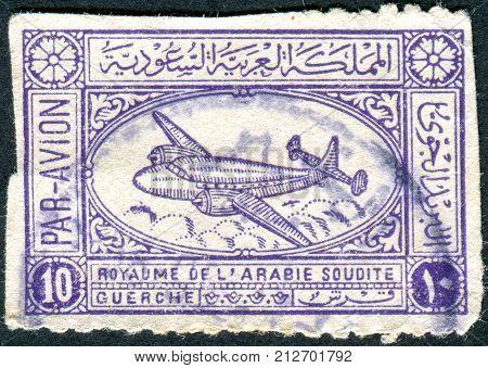 SAUDI ARABIA - CIRCA 1949: Postage stamp printed in Saudi Arabia shows the Airspeed Ambassador Airliner circa 1949