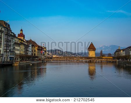 SWITZERLAND LUCERNE - MARCH 19 2015: Chapel Bridge in City of Lucern Switzerland