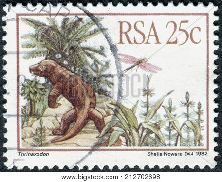 SOUTH AFRICA - CIRCA 1982: A stamp printed in South Africa shows a Prehistoric Animals (Karoo Fossils) Thrinaxodon circa 1982