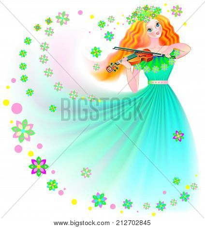 Illustration of beautiful fairy playing the violin, vector cartoon image.
