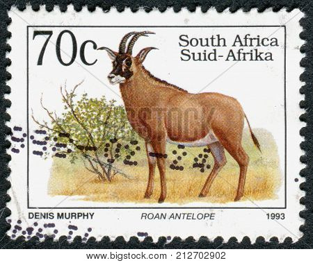 SOUTH AFRICA - CIRCA 1993: A stamp printed in South Africa shows the animal Roan Antelope (Hippotragus equinus) circa 1993