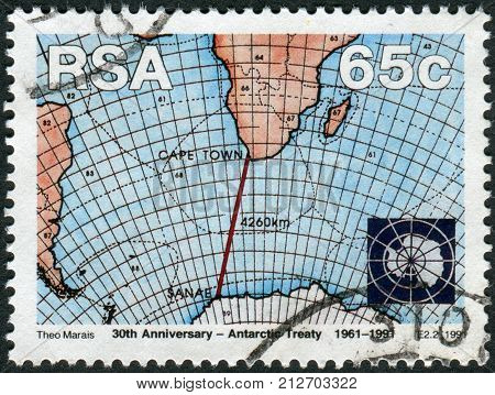 SOUTH AFRICA - CIRCA 1991: Postage stamp printed in South Africa devoted to 30th anniversary of Antarctic Treaty shows Weather Maps sea area between South Africa and Antarctica circa 1991