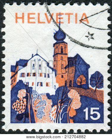 Switzerland - Circa 1973: Postage Stamp Printed In Switzerland, Shows Werthenstein Is A Municipality