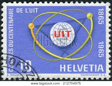 Switzerland - Circa 1965: Postage Stamp Printed In Switzerland, Dedicated To Centenary Of The Itu, S