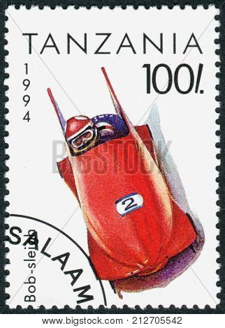 TANZANIA - CIRCA 1994: A stamp printed in Tanzania dedicated to Winter Olympics Game in Lillehammer depicted Bobsleigh circa 1994
