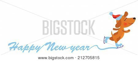 Happy New Year background with cute Dog in Santa hat skating, vector illustration