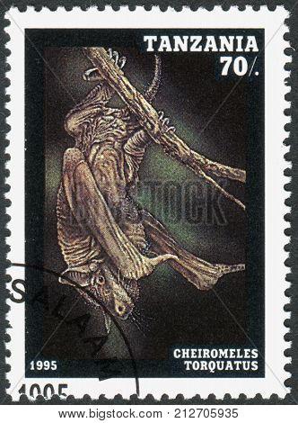 TANZANIA - CIRCA 1995: A stamp printed in Tanzania shows the hairless bat (Cheiromeles torquatus) circa 1995