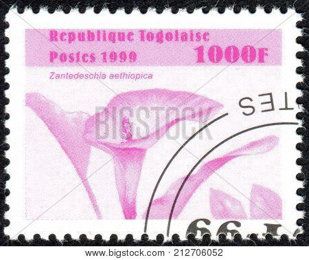 TOGO - CIRCA 1999: A stamp printed in Togo shows the flower Zantedeschia aethiopica circa 1999