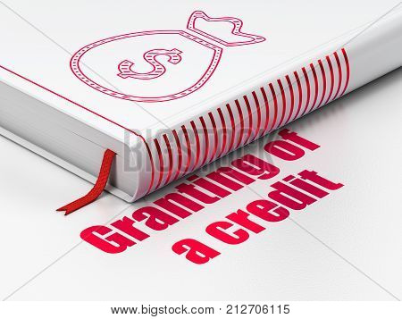 Money concept: closed book with Red Money Bag icon and text Granting of A credit on floor, white background, 3D rendering