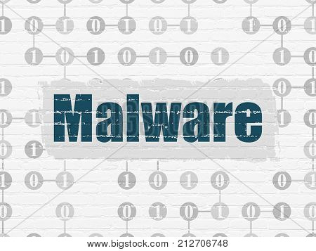 Protection concept: Painted blue text Malware on White Brick wall background with Scheme Of Binary Code
