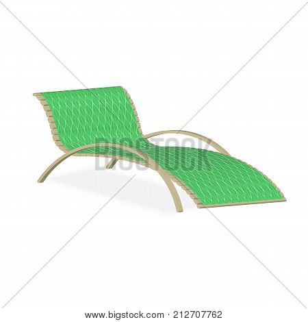 Wooden deck chair or lounger with green towel on it vector illustration