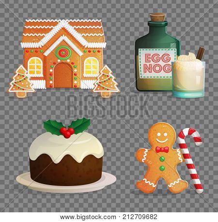 Traditional Catholic Christmas treats, egg nog glass with cream and cinnamon, festive candy cane, gingerbread house and man, traditional pudding.