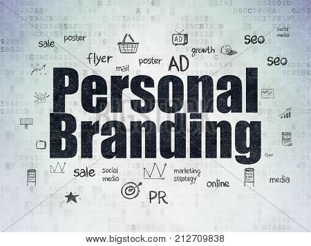 Marketing concept: Painted black text Personal Branding on Digital Data Paper background with  Hand Drawn Marketing Icons