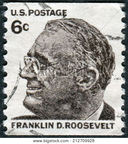 USA - CIRCA 1968: A postage stamp printed in USA shows a portrait of 32th President of the United States Franklin Delano Roosevelt circa 1968