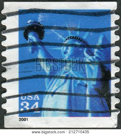 USA - CIRCA 2001: A postage stamp printed in USA shows one of the symbols of America Statue of Liberty circa 2001