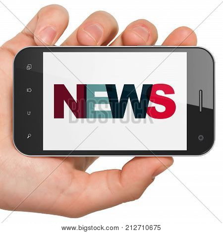 News concept: Hand Holding Smartphone with Painted multicolor text News on display, 3D rendering