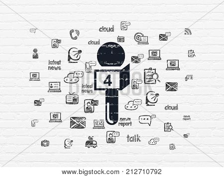 News concept: Painted black Microphone icon on White Brick wall background with  Hand Drawn News Icons