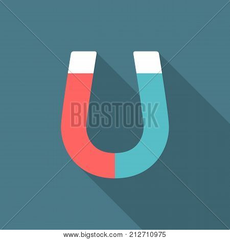 Magnet icon with long shadow. Flat design style. Magnet simple silhouette. Modern minimalist icon in stylish colors. Web site page and mobile app design vector element.