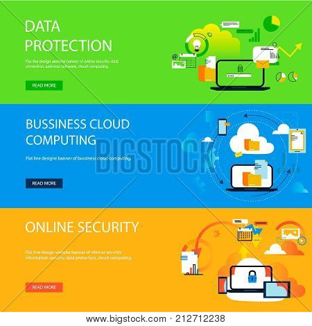 Banner data protection, internet security, antivirus software and services, business cloud computing. Vector illustration. Concepts for web and graphic design.