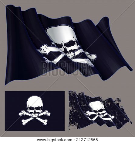 Vector illustration of the waving pirate flag jawless skull and crossbones. Each element on a separate layer with well-defined groups and subgroups. Easy to edit colors via Global Color
