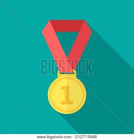 Gold medal icon with long shadow. Flat design style. Gold medal simple silhouette. Modern minimalist icon in stylish colors. Web site page and mobile app design vector element.