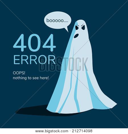 Page Not Found, Web Site Error. Banner ghost on a blue background. Vector illustration.