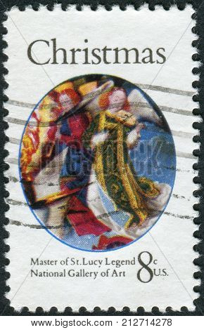 USA - CIRCA 1972: A postage stamp printed in USA Christmas Issue shows detail from a painting by the Master of the St. Lucy Legend. Angel from