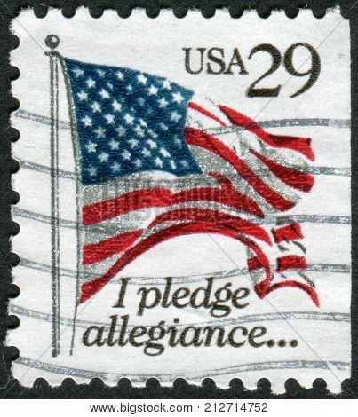 USA - CIRCA 1992: A postage stamp printed in USA shows a U.S. flag State (Pledge of Allegiance) circa 1992