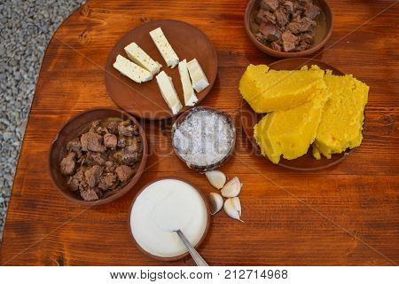 Traditional Romanian food on a wooden table
