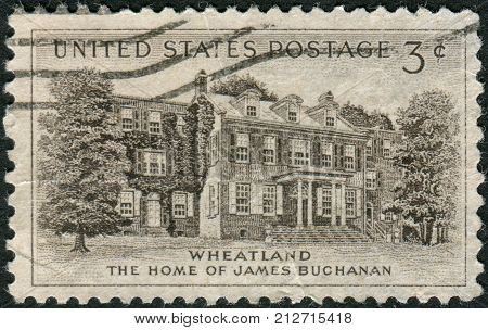 USA - CIRCA 1956: Postage stamp printed in the USA shows a President Buchanan's Home