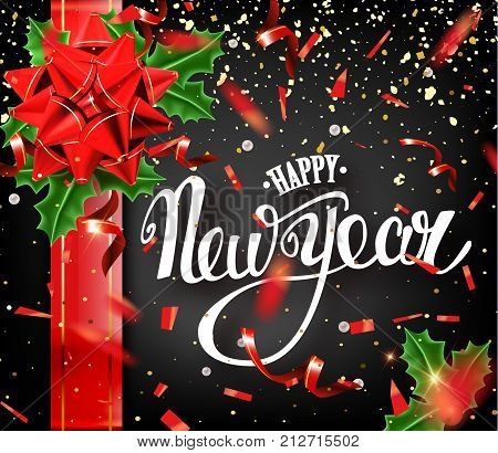 Happy New Year Lettering Greeting Card For Holiday. Golden Confetti Falls. Calligraphy Lettering New