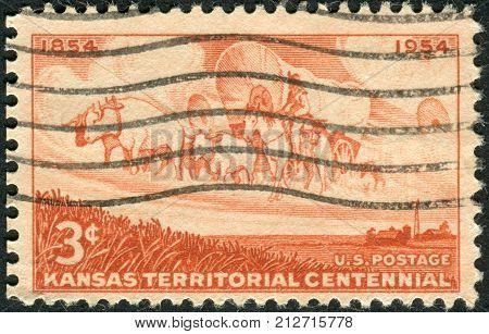 Usa - Circa 1954: Postage Stamp Printed In The Usa, Dedicated To The Centennial Of The Establishment