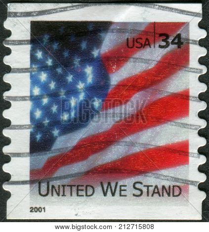USA - CIRCA 2001: Postage stamp printed in the USA shows a national flag of the United States the text