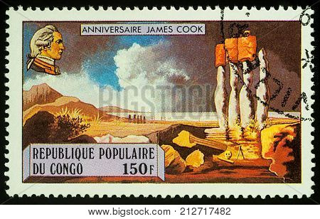 Moscow Russia - November 08 2017: A stamp printed in Congo shows Captain James Cook (1728-1779) and Easter Island series