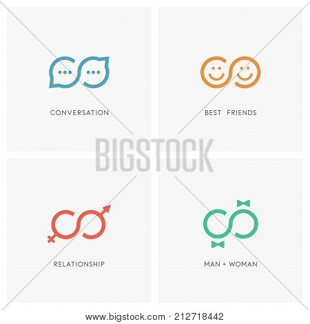 Infinity symbol and relationship logo set. Good conversation, best friends, male and female and love couple - chat or discussion, friendship and partnership, sex and gender, wedding and family icons.