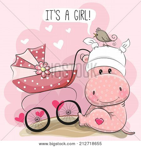 Greeting card it is a girl with baby carriage and Hippo