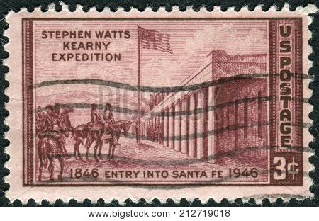 Usa - Circa 1946: Postage Stamp Printed In Usa, Dedicated To The Centenary Of The Entry Of General S