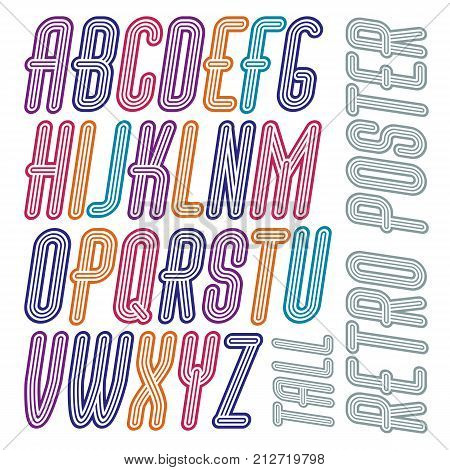 Vector retro vintage capital English alphabet letters collection. Funky italic tall font typescript can be used in art creation. Made with triple stripy decoration.