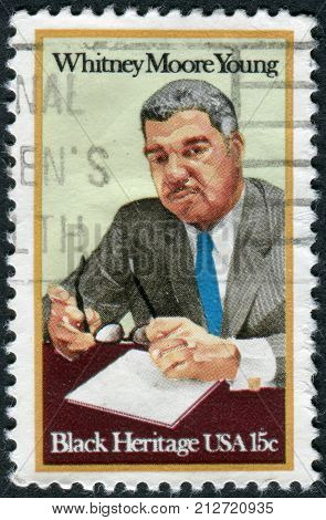 Usa - Circa 1981: Postage Stamp Printed In Usa, Shows Whitney Moore Young, Civil Rights Leader, Circ