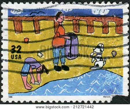 Usa - Circa 1995: Postage Stamp Printed In Usa, Dedicated To Earth Day, Shows A Child's Drawing