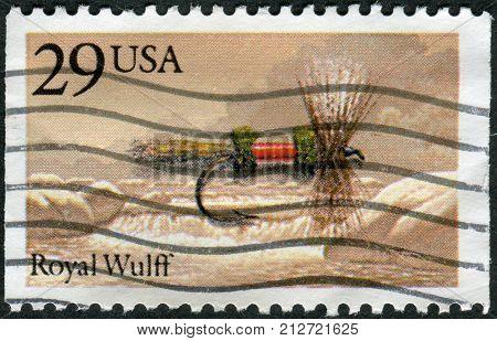 Usa - Circa 1995: Postage Stamp Printed In Usa, Shows A Bait For Fishing Flies, Royal Wulff, Circa 1