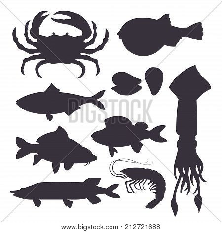 Seafood set black silhouette with crab, fish, mussel and shrimp isolated on white background. Design for restaurant menu, market. Marine creatures in flat style - vector illustration.
