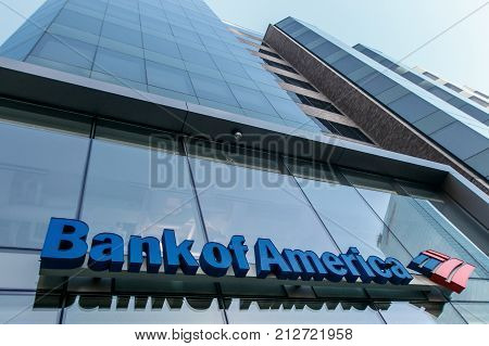 Boston October 28 2017: Bank of America sing above the entrance to one of their branches.